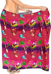 LA LEELA Christmas santa Beach Bathing Cover Up Mens Wrap 78quot;X39quot; Pink 3306 $14.99