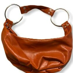 Hobo Bag Small with Metal Rings Burnt Orange $13.57