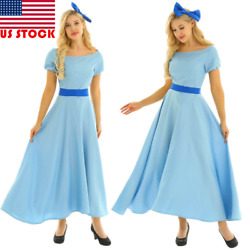 US 3Pcs Women Adult Cosplay Costume Ball Princess Party Fancy Maxi Dress Outfits $19.99