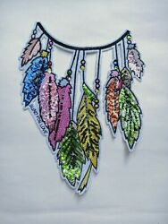 Patch Feather Sequin iron on Patches large 10quot;X 7.5quot; boho diy jeans fashion $11.90