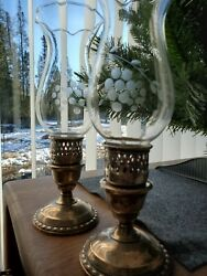 International Sterling Silver Weighted Antique Hurricane Lamp Candle Holder Pair $115.00