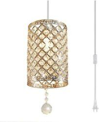 Plug In Hanging Light Fixture Pendant Modern Gold Crystal Chandelier Glass New $46.95