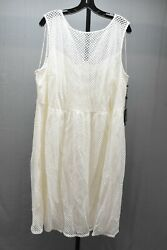 Adrianna Papell Embroidered Diamonds Fit amp; Flare Dress Women#x27;s Size 22W Ivory