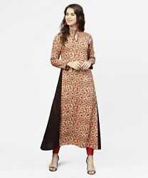 Radha#x27;s Indian Red printed full sleeve flared cotton maxi dress $33.99