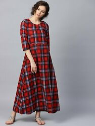 Radha#x27;s Indian Red check 3 4th sleeve cotton maxi dress $33.99