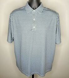 FOOTJOY Mens L Polo Shirt Golf Blue Green Pattern Stretch Breathable Collared $35.00