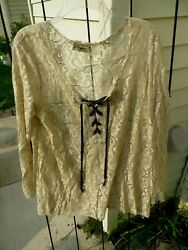 Womens Gimmicks BKE long sleeve lace boho top size Medium M tan lace up bell sle $14.99