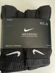 NWT 6 PAIR NIKE EVERYDAY COTTON CUSHIONED CREW Mens Socks Black Sz 8 12 Large $22.99