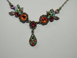 FIREFLY Crystal and Bead Necklace Orange Green Pink $49.99