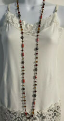 Vintage Glass Bead Necklace Long Multicolor Glass Beads Red Brown $19.00