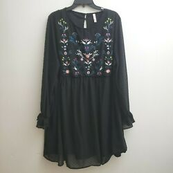Xhilaration Dress XXL Black Multi color Embroidery Floral Boho Long Sleeves $20.00