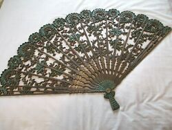 Home Interiors Burwood Homco Wall Hanging LARGE FAN Decor 43quot; x 26.5quot; VGC $48.00