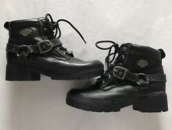 Harley Davidson Women's Tegan Leather Heeled Ankle Boots EUC Size 8 $75.00