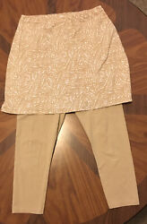 Womens Legacy Skirted Leggings Capri Beige Taupe Abstract S *flaw $8.00