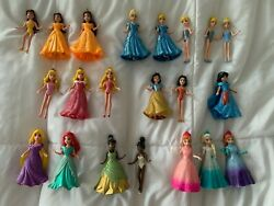LOT Of 34 pieces Disney Princess Magiclip Magic Clip Dolls Figures Plus Dresses $59.99