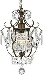Small Crystal Chandelier Pendant Light Fixture Vintage Bronze Hanging Clear Mini $75.50