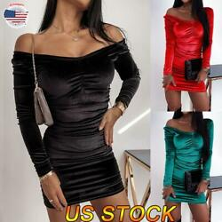 Ladies Sexy V neck Velvet Bodycon Mini Dress Long Sleeve Pleat Party Gown Dress $20.89