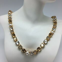 **SALE** Cup Chain Crystal and Pearl Tennis Necklace with SWAROVSKI Crystals $28.00