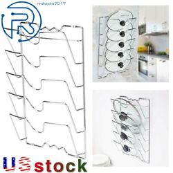 Pan Lid Storage Rack Wall Mount Pot Cover Organizer Kitchen Cabinet Door Holder $20.95