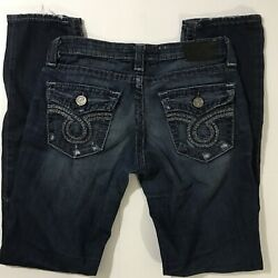 Big Star Womens Nico Distressed Jeans Flap Pockets Wiskered Size 28L $36.95