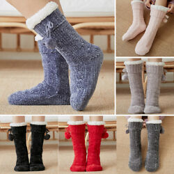 Women Novelty Funny Xmas Socks Home Floor Slippers Socks Fleece Lined Thermal $14.81