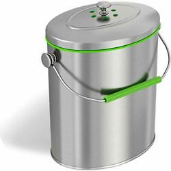 Titanium 1.6 Gallon 6 Liter Stainless Compost Stainless Steel Trash Can $48.32