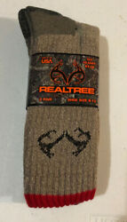 2 New Pairs Tan Olive Realtree 20% Merino Wool Men's Large Socks 9 13 Hunting $11.95