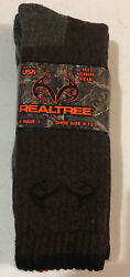 2 New Pairs Brown Gray Realtree 20% Merino Wool Men's Large Socks 9 13 Hunting $11.95
