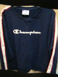 Champion Women#x27;s Plus Crew Neck Long Sleeve Logo Sweatshirt BLUE Size 2XL NEW $22.99