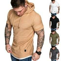 Mens Short Sleeve Casual T Shirt Hooded Slim Fit Muscle Workout Tops Blouse Tee $17.39