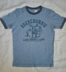 Mens Small Vintage ABERCROMBIE amp; FITCH T Shirt LAKE George CAMP MOOSE Logo Blue $28.00