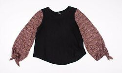 Anthropologie Black Knit Floral Sleeve Long Sleeve Shirt Size M Medium $15.19