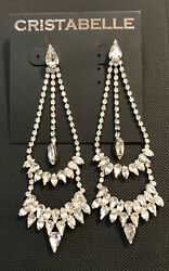 NORDSTROM CRISTABELLE Gorgeous Sparkling Crystal Chandelier Earrings $39 NWT $24.00