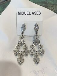 Miguel Ases Silver Chain and Crystals Chandelier Earrings $125.00