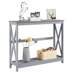 Classic X Design Console Table Sofa Side Table For Entryway Living Room Gray $75.99