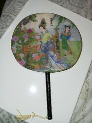 Vintage Chinese Hand fan Asian Women In Garden Colorful Dresses 9quot;diameter $11.10