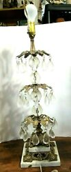 Vintage Table Brass Lamp 30 Prisms Made in Italy Double Marble Base Cherub Faces $85.95