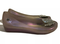 Melissa Mini Ultra Disney Cinderella Butterfly Clear Pearly Lilac Shoes Sz 2 US $26.95