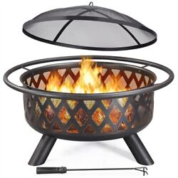 36#x27;#x27; Large Outdoor Iron Fire Pit Bonfire Outdoor Heating Firebowl for Camping $143.99