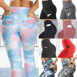 Women Sports Compression Fitness Leggings With Pockets Yoga Pants Gym Trousers $8.35