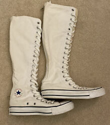 Converse All Star White Sneakers Tall Knee High Women's Size 5.5 Chuck Taylor $46.95