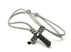 paracord adjustable cross necklace grays handmade in USA $7.00
