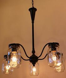 Mason Jar 5 Light Chandelier Bronze Finish $199.00