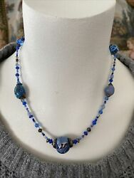 Vintage Glass Beaded 16#x27;#x27;Blue Necklace $14.00