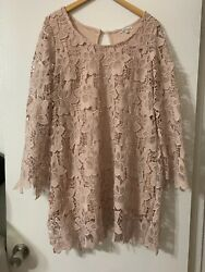 charlotte russe dress large Mauve Lace Long Sleeve $17.00