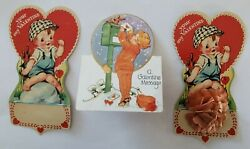 Lot 3 Valentine Day Vintage Cards Paper Die Cut Fold Honeycomb Ball Pop Up USA $11.99