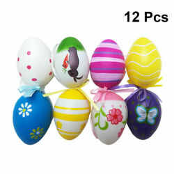 12Pcs Artificial Easter Eggs With Ribbon Printing Party Decoration Home Kitchen $7.69