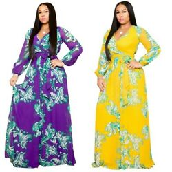 Women Maxi Floral print Chiffon Plus Size Elegant Beach Long Big Size Boho Dress $26.03