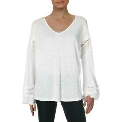 INC Bright White Womens Boho Lace Inset Peasant Top Small $12.99