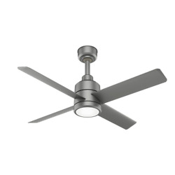 Trak 60 in. Integrated LED Indoor Outdoor Matte Silver Commercial Ceiling Fan wi